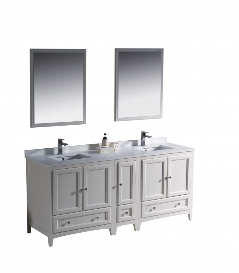 72 inch double sink bathroom vanity in antique white for Bathroom 72 inch vanity