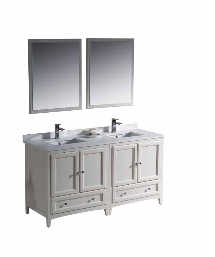 60 inch double sink bathroom vanity in antique white uvfvn203030aw60