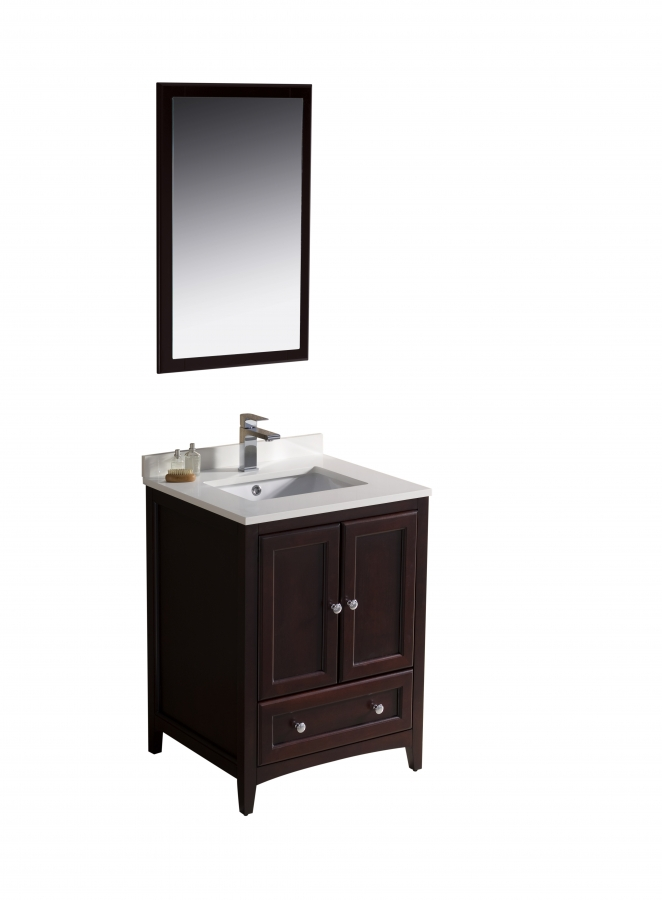 24 inch single sink bathroom vanity in mahogany uvfvn2024mh24 for Bathroom 24 inch vanity