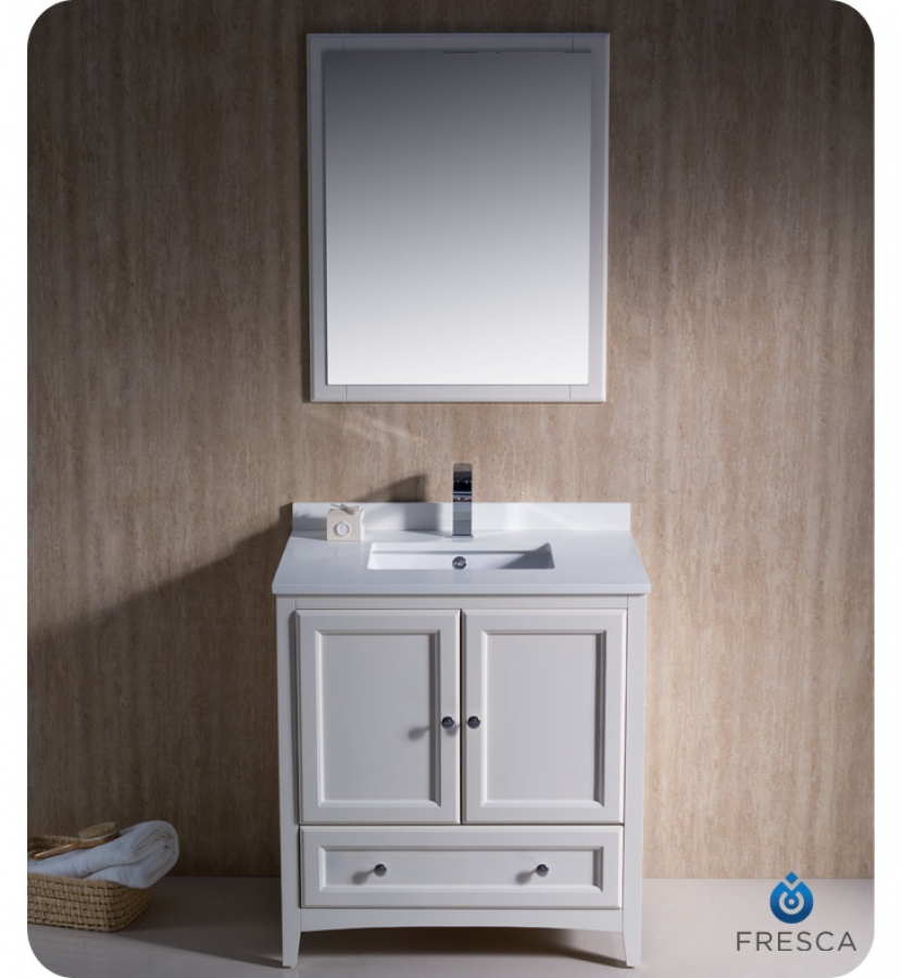- 30 Inch Single Sink Bathroom Vanity In Antique White UVFVN2030AW30