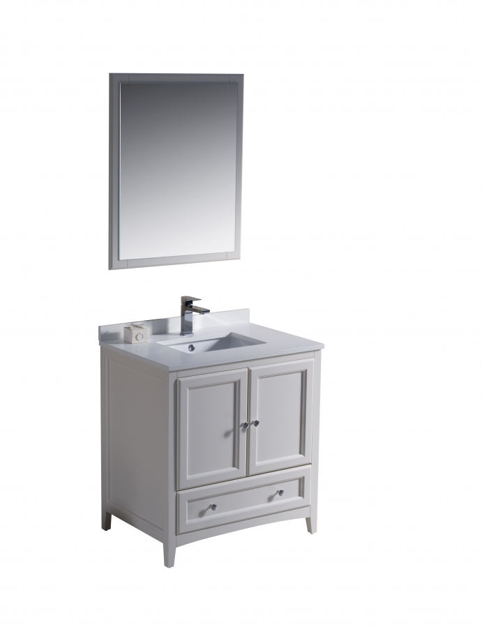 30 inch single sink bathroom vanity in antique white for Bathroom 30 inch vanity
