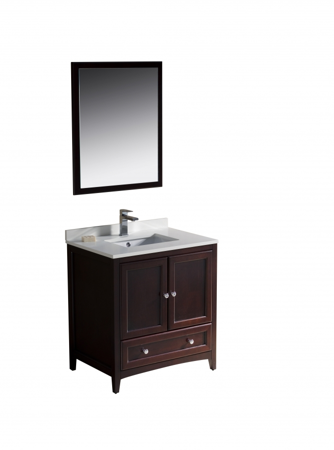 30 inch single sink bathroom vanity in mahogany uvfvn2030mh30 for Bathroom cabinets 30 inch