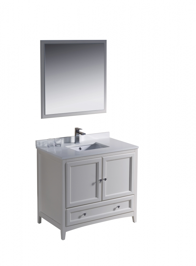 36 Inch Single Sink Bathroom Vanity In Antique White Uvfvn2036aw36