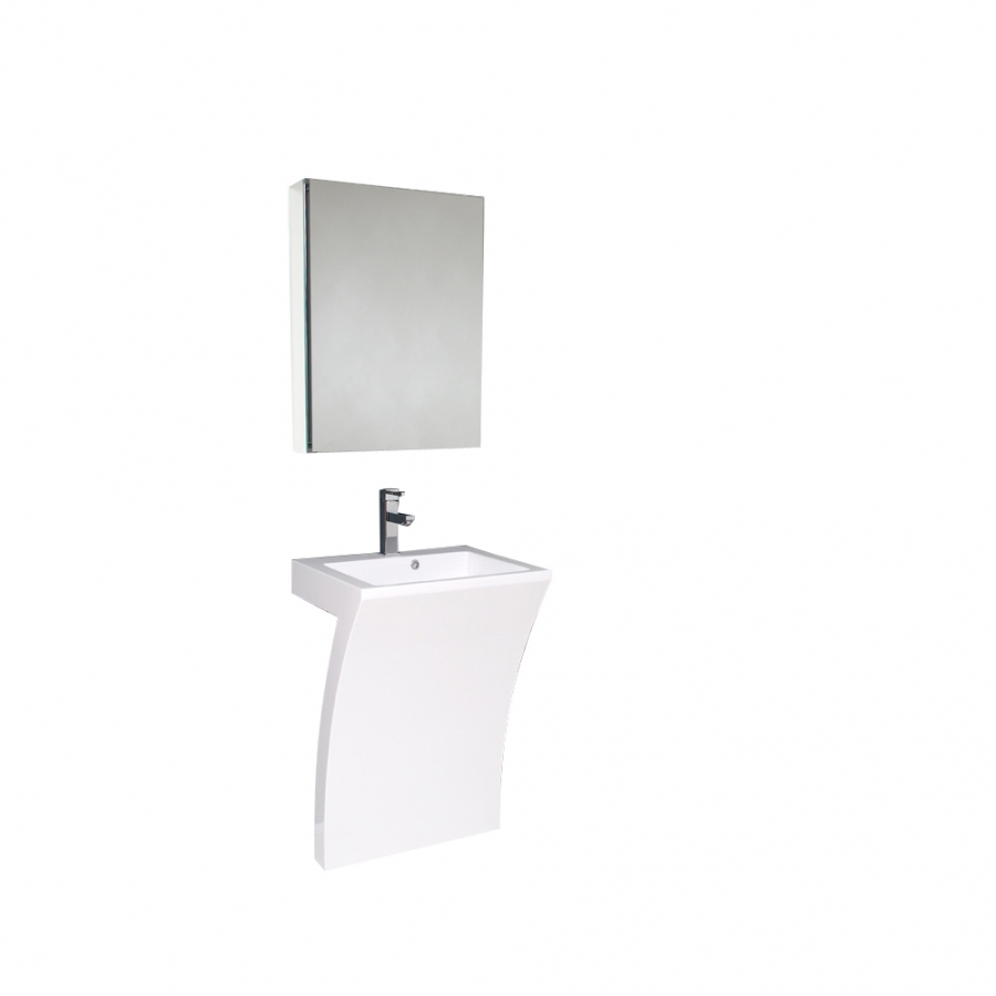 225 Inch White Modern Pedestal Sink Bathroom Vanity With Medicine