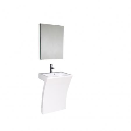 22 5 Inch White Modern Pedestal Sink Bathroom Vanity With