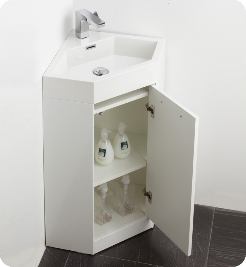 18 Inch White Modern Corner Bathroom Vanity With Optional Medicine