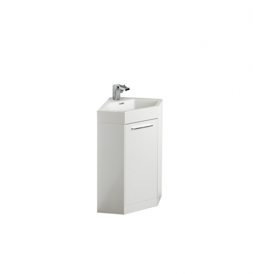 18 Inch White Modern Corner Bathroom Vanity with Optional Medicine Cabinet. Shop Corner Vanities and Bathroom Sinks with Free Shipping