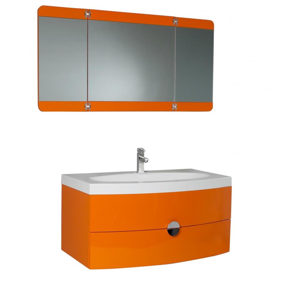 36.25 Inch Single Sink Bathroom Vanity in Orange UVFVN5092OR37