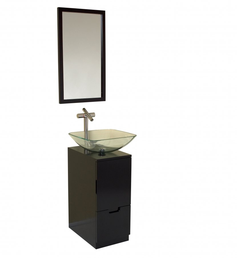 17 Inch Espresso Modern Bathroom Vanity with Mirror