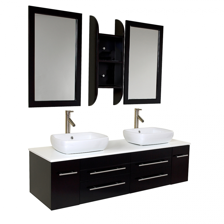 59 Inch Espresso Modern Double Vessel Sink Bathroom Vanity