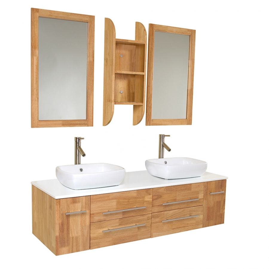 59 inch natural wood modern double vessel sink bathroom for Bathroom cabinets natural wood