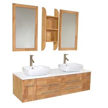 59 Inch Natural Wood Modern Double Vessel Sink Bathroom Vanity Uvfvn6119nw59