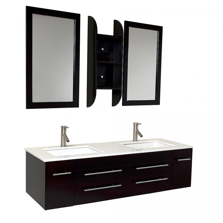 59 inch espresso modern double sink bathroom vanity - Contemporary double sink bathroom vanity ...