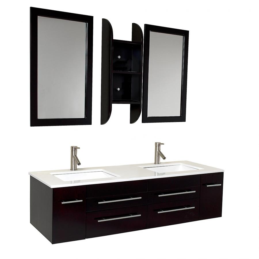 59 Inch Espresso Modern Double Sink Bathroom Vanity UVFVN6119UNS59