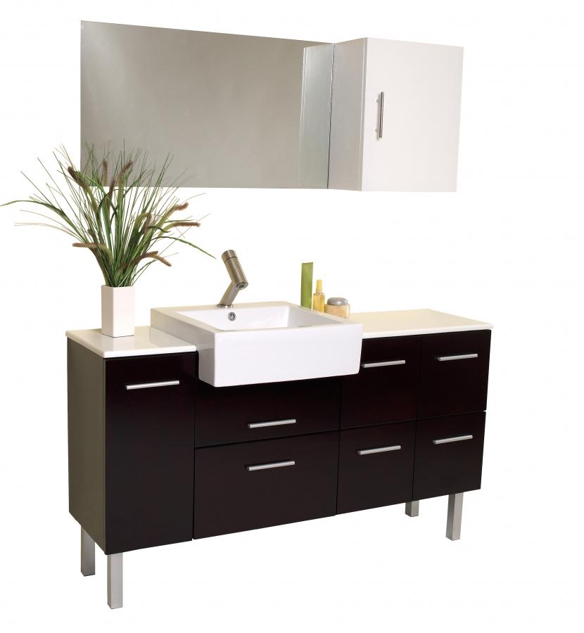 57 Inch Bathroom Vanity Top: 57 Inch Espresso Modern Bathroom Vanity With Mirror & Side