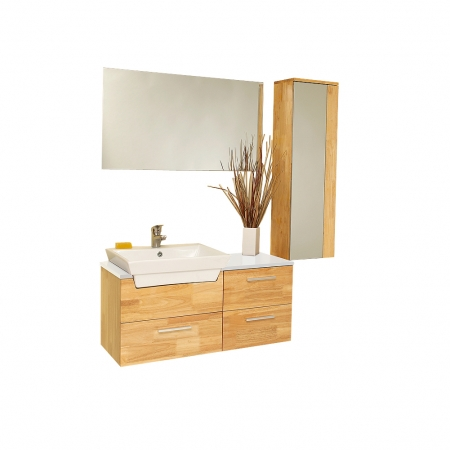 35 5 Inch Natural Wood Modern Bathroom Vanity With Mirrored Side Cabinet Uvfvn6163nw35