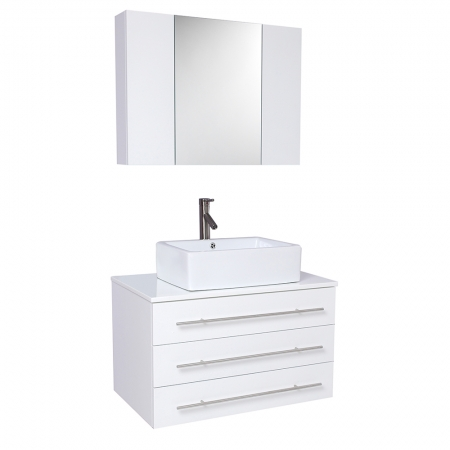 Inch White Modern Bathroom Vanity With Marble Countertop Uvfvn6183wh31