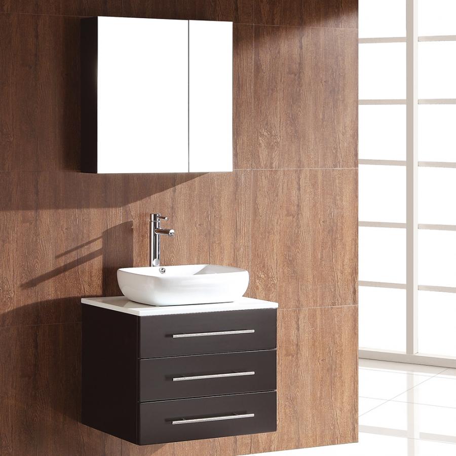 23.5 Inch Espresso Modern Bathroom Vanity With Medicine Cabinet  UVFVN6185ES23