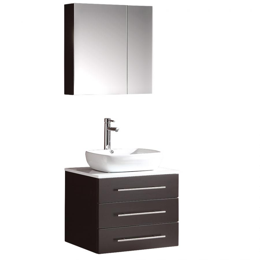 23.5 Inch Espresso Modern Bathroom Vanity with Medicine Cabinet ...