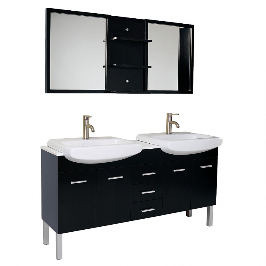 59 inch espresso modern double sink bathroom vanity with for Double basin bathroom sinks