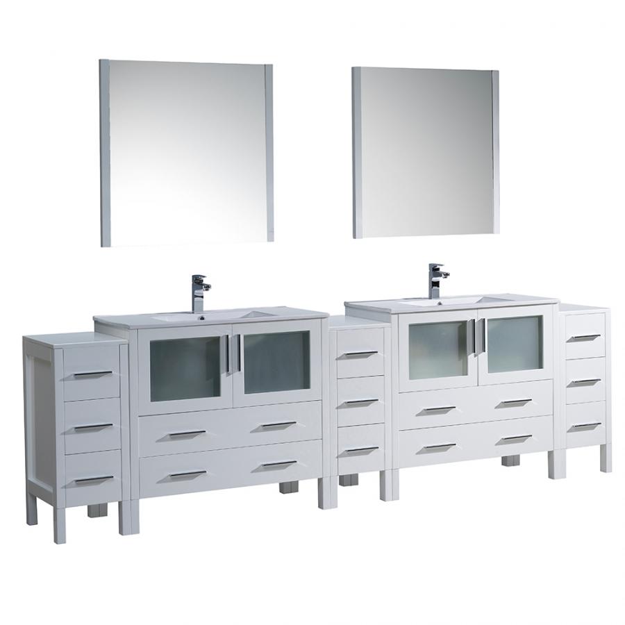 Torino 108 Inch White Modern Double Sink Bathroom Vanity Uvffvn62108whuns
