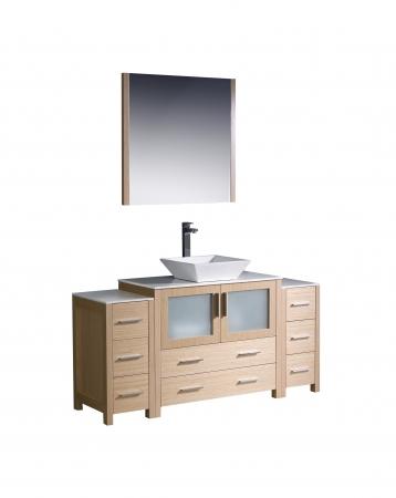 60 Inch Vessel Sink Bathroom Vanity In Light Oak