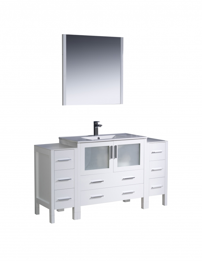 60 inch single sink bathroom vanity in white with side cabinets uvfvn62123612whuns60 60 in bathroom vanities with single sink