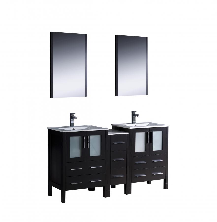 60 Inch Double Sink Bathroom Vanity In Espresso With
