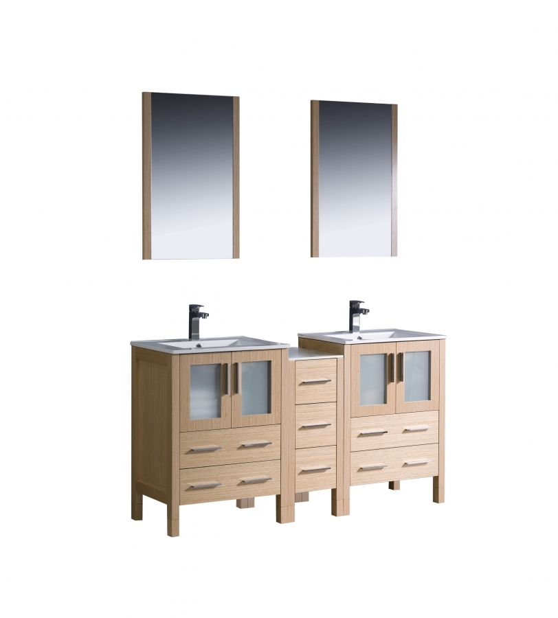 60 inch double sink bathroom vanity in light oak with ceramic top