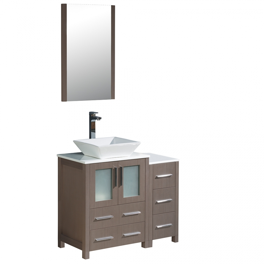 Torino 36 inch gray oak modern bathroom vanity for Bathroom cabinets 36