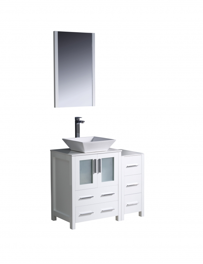 36 Inch Vessel Sink Bathroom Vanity In White Uvfvn622412whvsl36