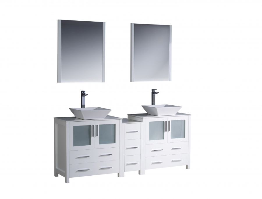 72 Inch Double Vessel Sink Bathroom Vanity in White ...