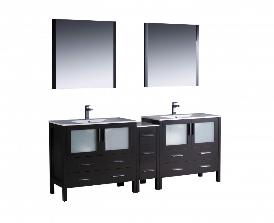84 Inch Double Sink Bathroom Vanity In Espresso With Ceramic Top Uvfvn62361236esuns84