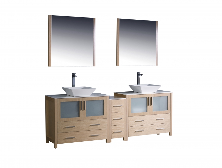 84 Inch Double Vessel Sink Vanity In Light Oak With A Side