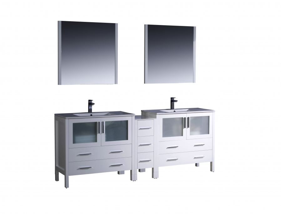 84 Inch Double Sink Bathroom Vanity In White With Ceramic