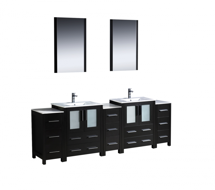 84 Inch Double Sink Bathroom Vanity With Side Cabinets Uvfvn6272esuns84