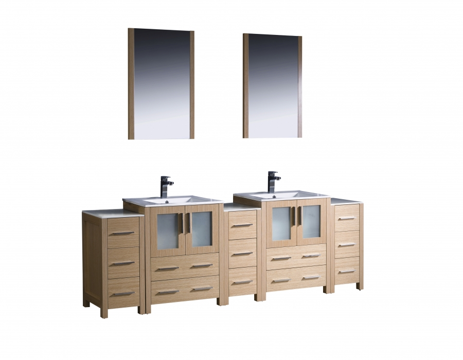 84 Inch Double Bathroom Vanity In Light Oak With Side