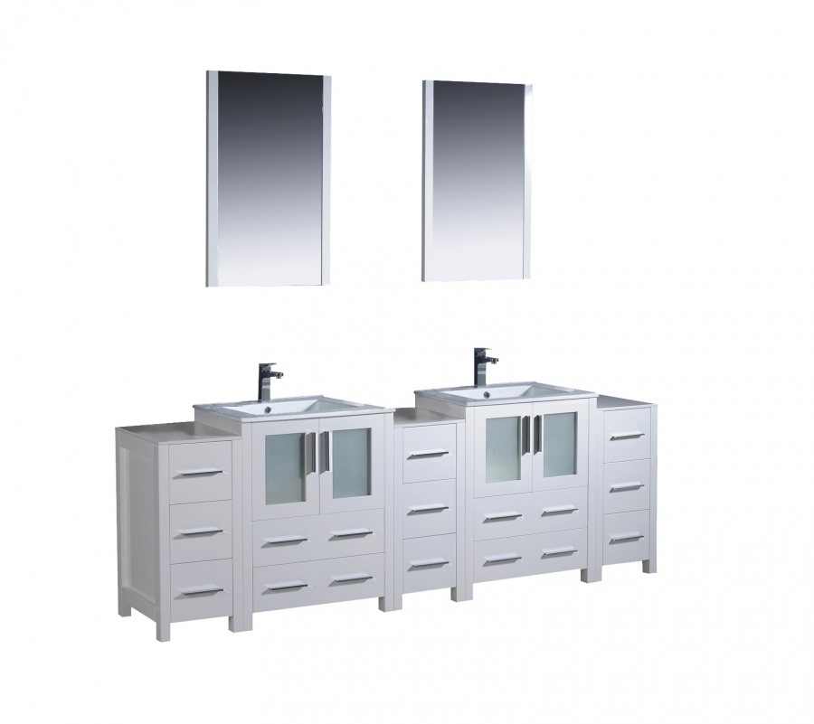 84 Inch Double Bathroom Vanity In White With Side Cabients Uvfvn6272whuns84