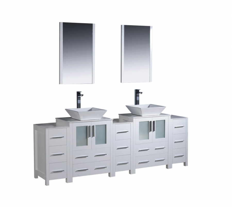 84 inch double vessel sink bathroom vanity in white with side cabients