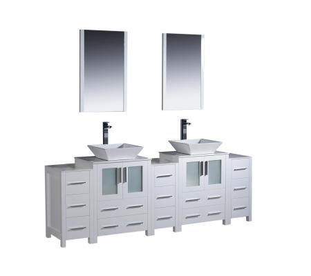 84 inch double vessel sink bathroom vanity in white with side cabients uvfvn6272whvsl84 for 84 inch white bathroom vanity