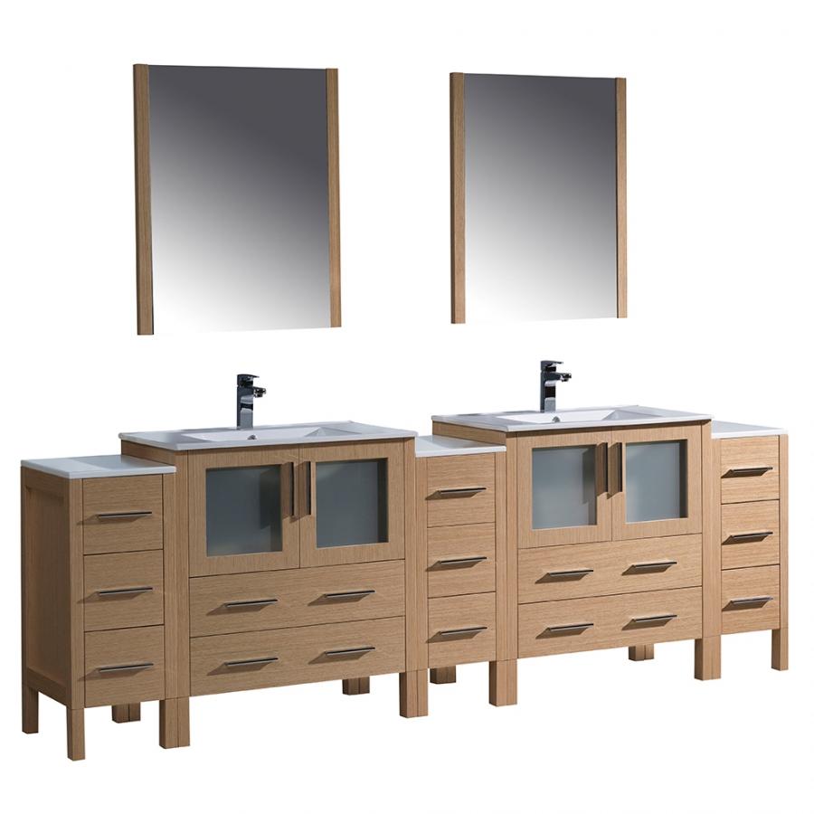 torino 96 inch light oak modern sink bathroom