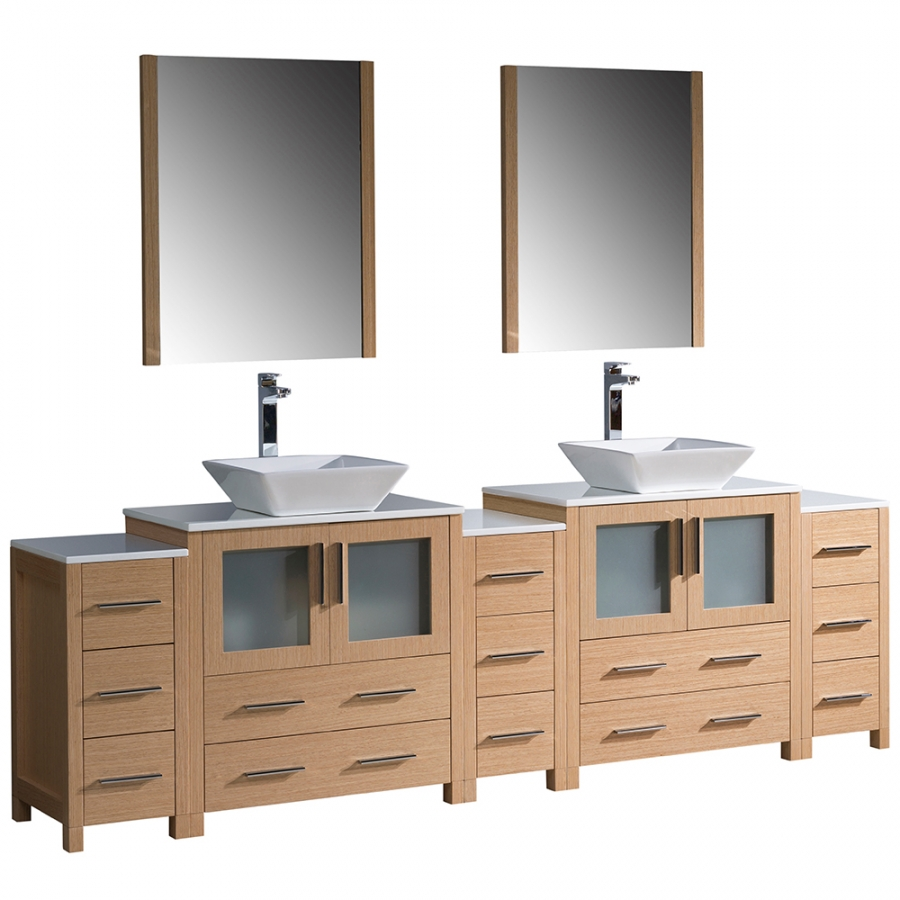 torino 96 inch light oak modern sink bathroom
