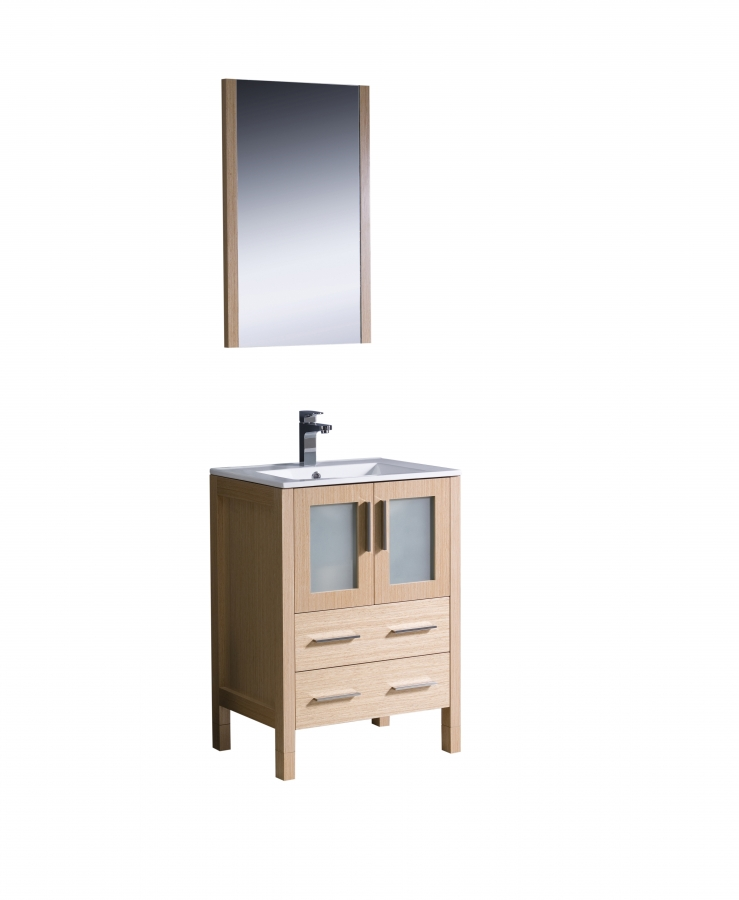24 Inch Single Sink Bathroom Vanity In Light Oak UVFVN6224LOUNS24