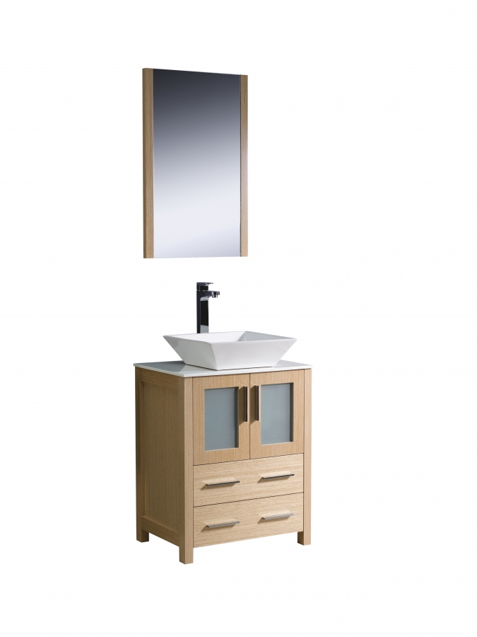 24 Inch Vessel Sink Bathroom Vanity In Light Oak UVFVN6224LOVSL24