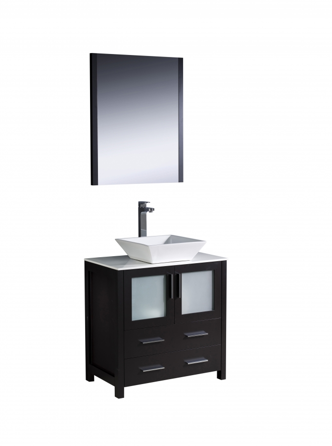 30 inch vessel sink bathroom vanity in espresso for Bathroom 30 inch vanity