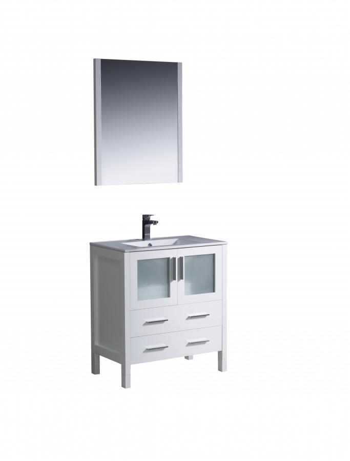 30 inch single sink bathroom vanity in white uvfvn6230whuns30