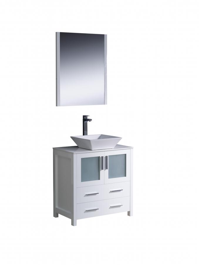 30 inch vessel sink bathroom vanity in white uvfvn6230whvsl30 - 30 inch white bathroom vanity with sink ...