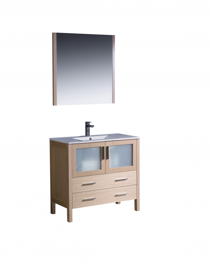 36 Bathroom Vanity Gray: 36 Inch Single Sink Bathroom Vanity In Light Oak