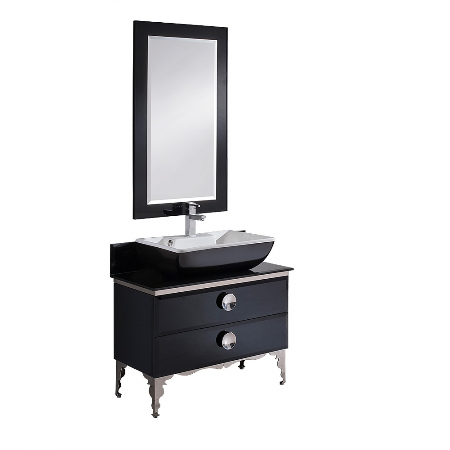 35 5 Inch Single Sink Bathroom Vanity With Black Tempered