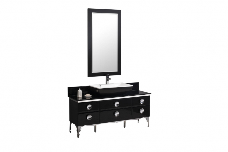 59 Inch Single Sink Bathroom Vanity With Black Tempered Glass Top